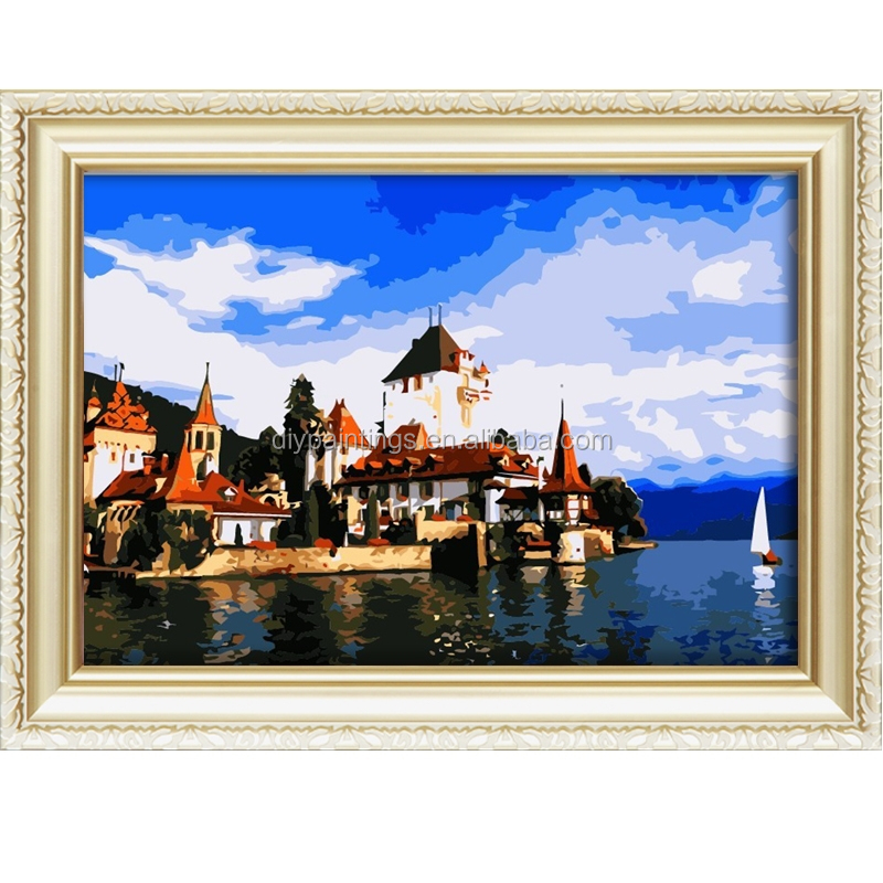 Hot sale village scenery oil painting on canvas diy paint by number