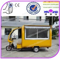 European quality,Chinese price mobile tricycle food cart for sale, commercial fast food van for sale hot dog carts food truck