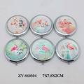 flamingo design glass compact makeup pocket mirror
