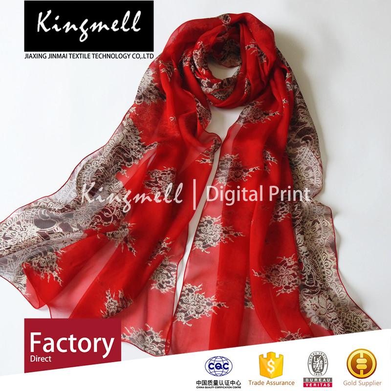 2015 Chinese red background flower printing women's scarf silk scarf