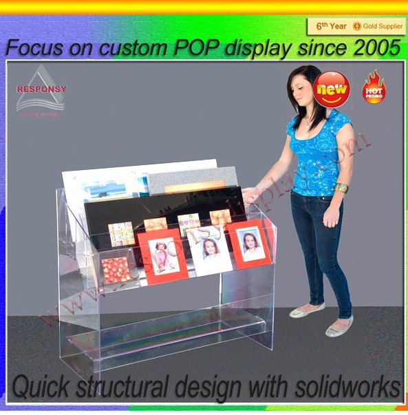 Clear plastic paper/magazine display holder/display stand