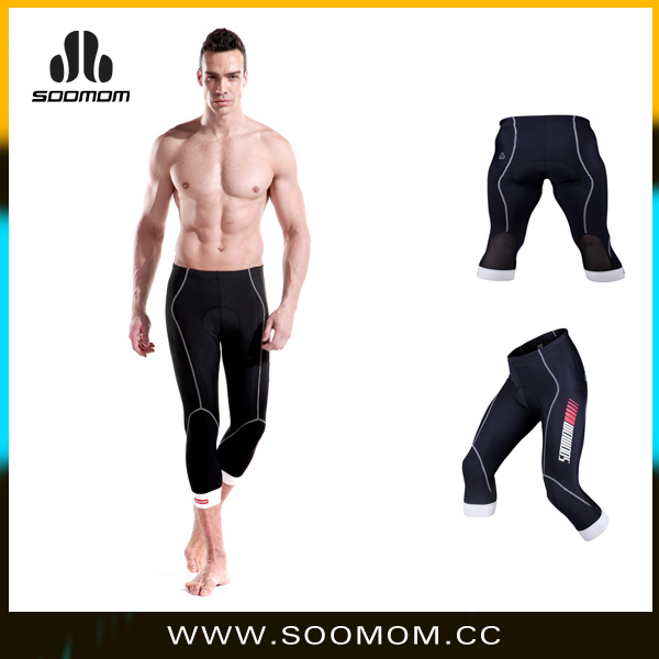 2016 Fashion and hot sale OEM custom Man's 3/4 knickers pant cycling tights bike pants with pad compression tight