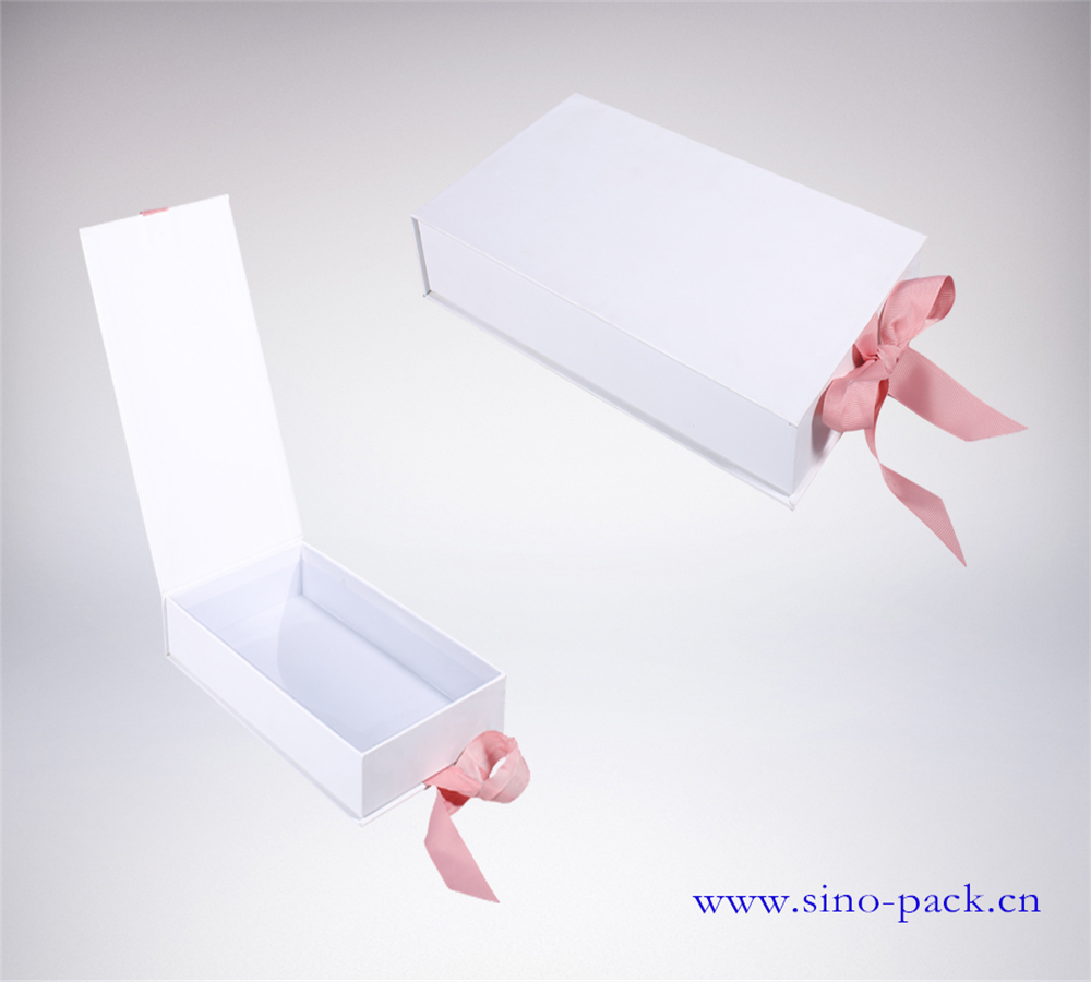 fancy paper+grey cardboared+ribbon Accept Custom Order custom white gift packaging box