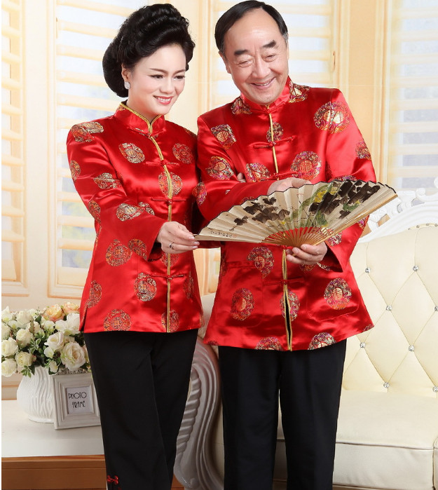 2017 New Couple Tan Suit Traditional Chinese Clothing Coat For Men and Women Long Sleeve Clothes