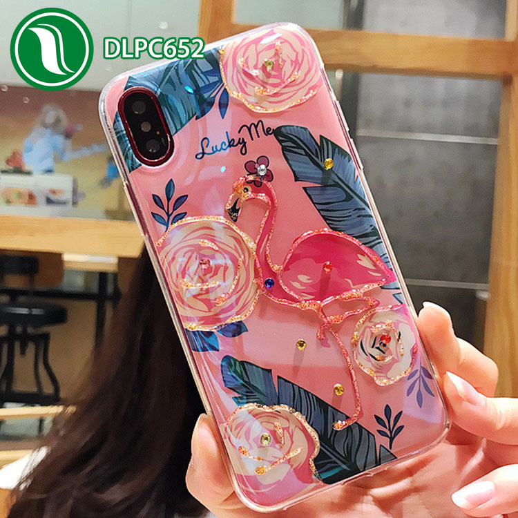 Hight quality flamingo crystal Glitter Diamond Soft TPU clean case for Iphone X, 8,8 Plus,7,7Plus
