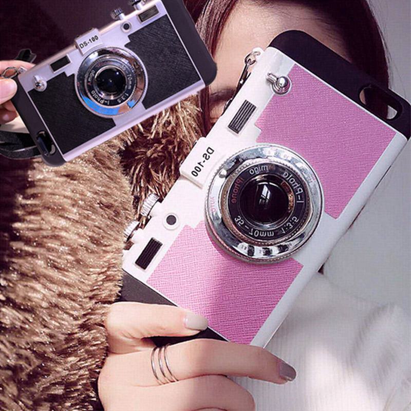 PC Silicone Phone Case Camera Design With Sling Cell Phone Case