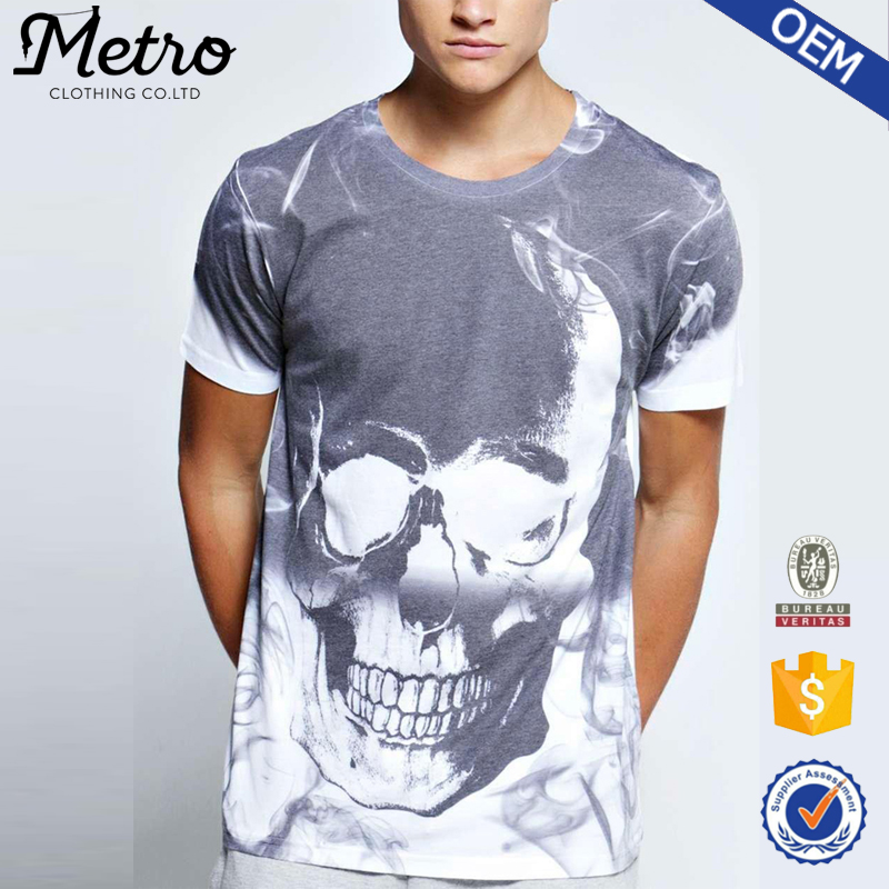 2016 OEM Custom Mens Skull Sublimation Printed T Shirts