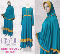 Ruffle Dresses Tosca-Yellow 1set + Hijab
