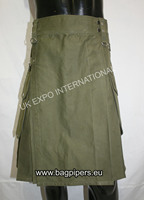 Olive Utility Casual Pocket Kilt with out Belt