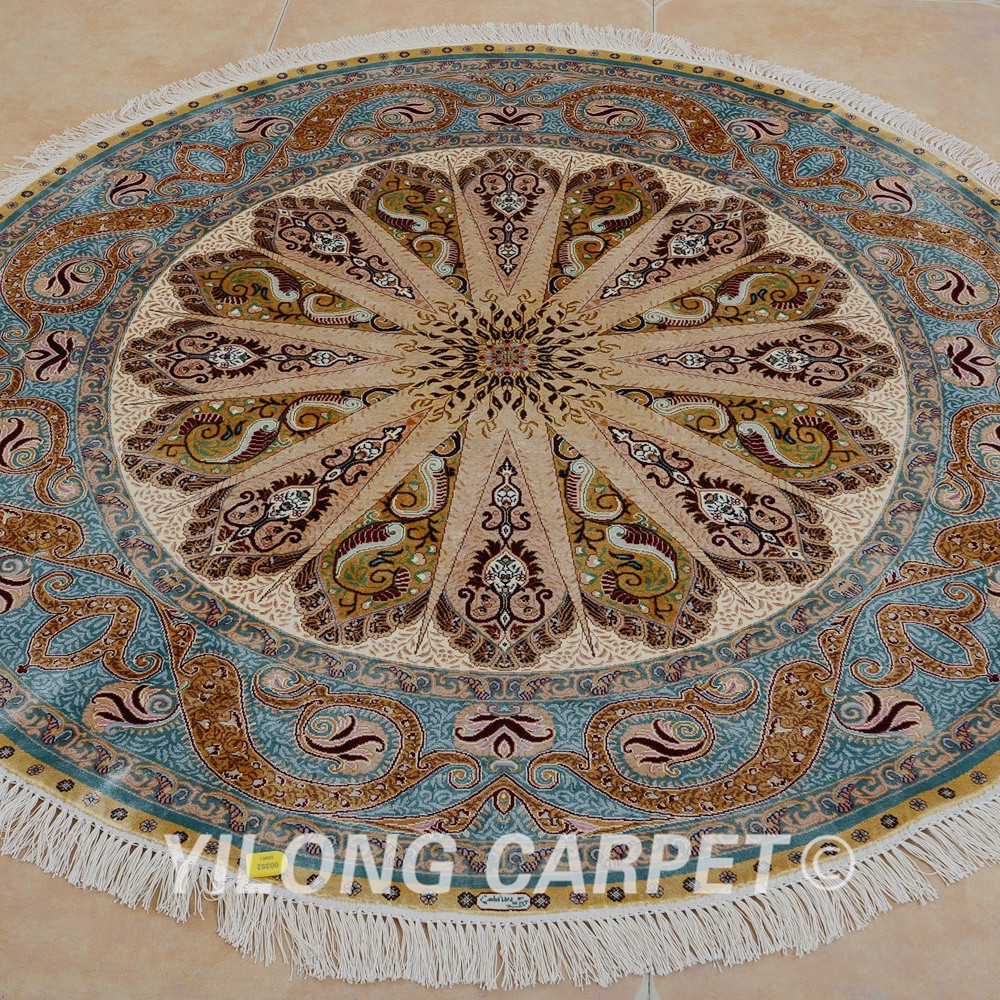 Yilong 5'x5' round silk carpet hand knotted persian floral turkish silk rugs