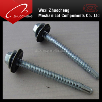 zinc plated DIN7504K self drilling screws with rubber washer