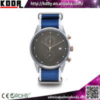fashion custom logo leather or fabric nato strap chrono mens watches