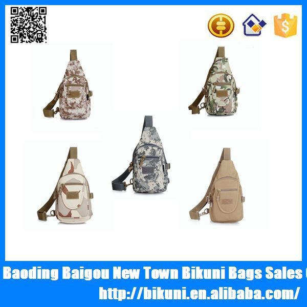 Army tactical canvas camo shoulder chest man military sling bag
