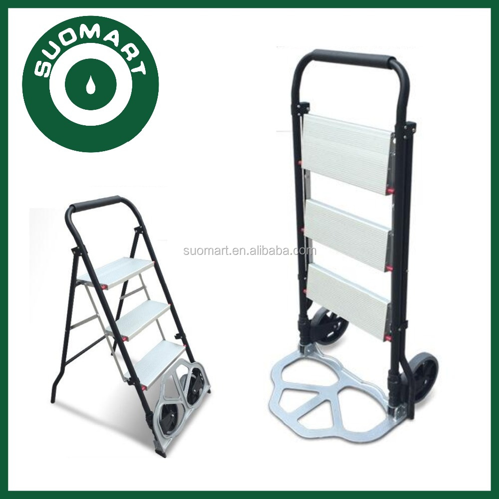2 in 1 Hand Folding Convertible Step Ladder with Trolley