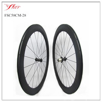 3 years warranty 2016 New model 58mm x 28mm road bike wheels carbon clincher U shape with Powerway hub more durable and stiff