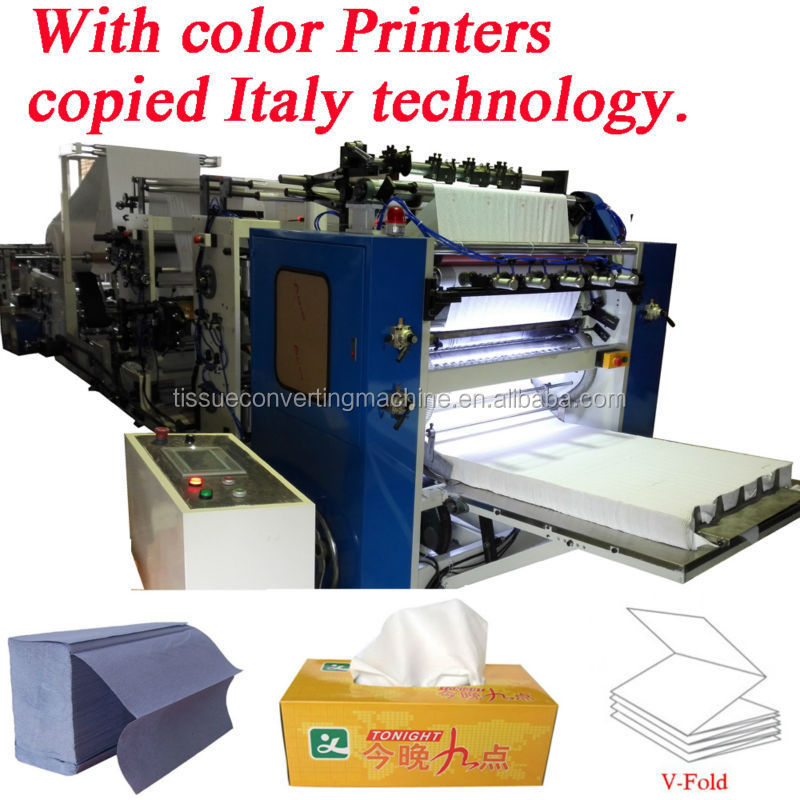 Italy Design Embossing Laminating Printing High Speed Automatic V-fold Hand Towels Machine