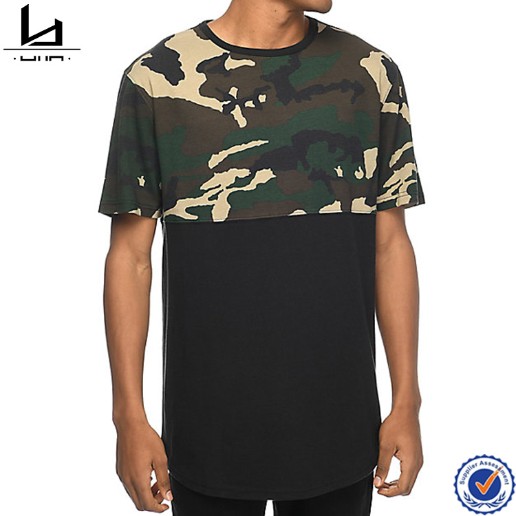guangzhou clothing round botton short sleeve trend hip hop long wholesale camo t shirts