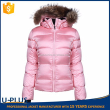 Newest ladies padded jacket with hood made in China