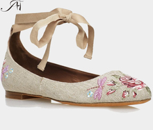 women flat heel casual shoes embroidery cloth material shoes