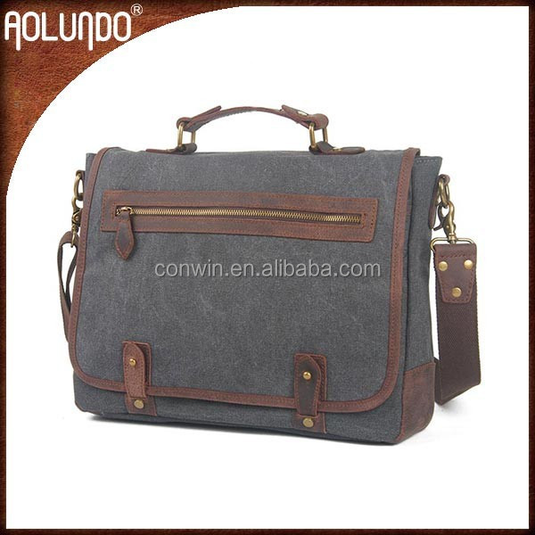 Durable genuine leather laptop messenger bags for men