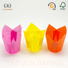 disposable baking cups cupcake liners tulip shaped solid color paper material