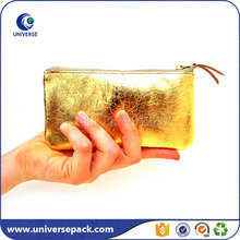 Gold small pu leather cosmetic pouch with suede string puller