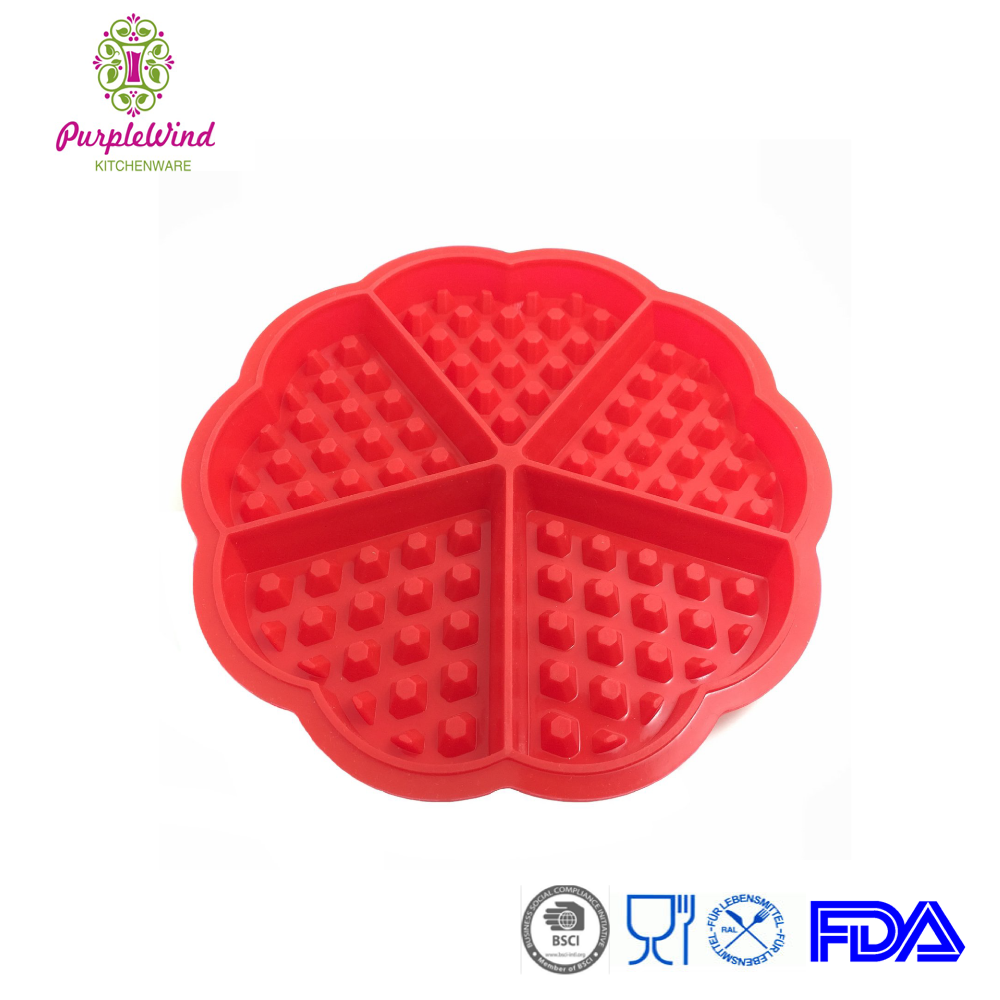 No-stick red Heart shape waffle silicone cookies mould/silicone baking pan/ Pastry Tools