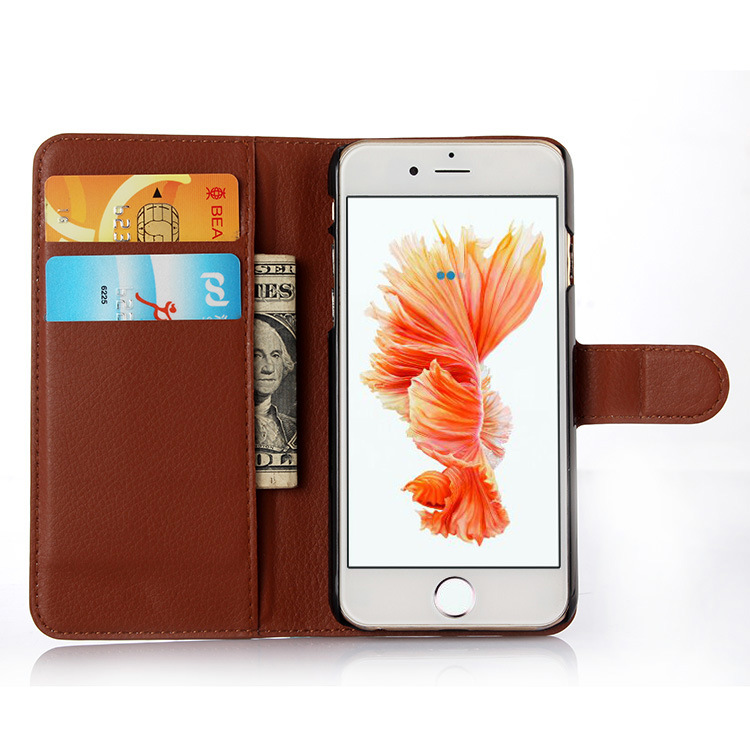 custom Quality for iPhone 6 inches Universal PU flip leather wallet phone Case with card slot with soft gel holder