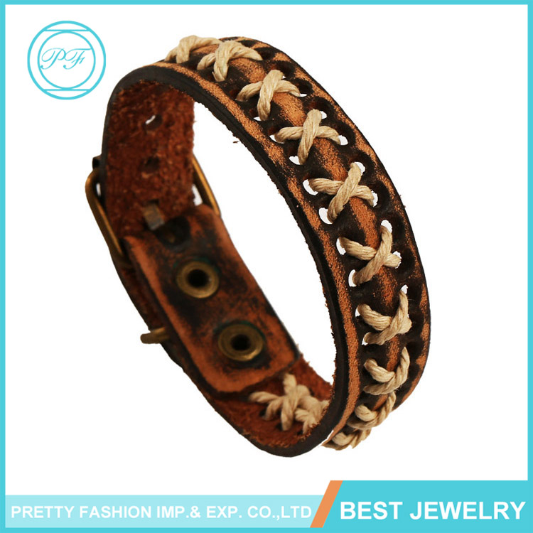 New design brown woven hand bands teen leather bracelet