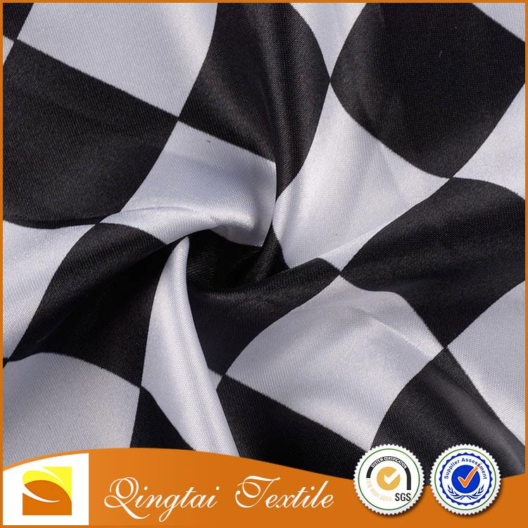 Fashion design printed Cheap black and white wholesale satin fabric