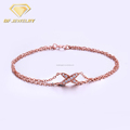 Pure Silver Color Plated 18K Gold X Shaped Pave Lady Chain & Link Bracelets