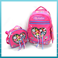 Top quality polyester teenagers travel school bag backpack with lunch bag