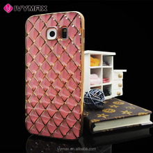 Luxury crystal soft TPU cover with plating grid for Samsung galaxy s6 edge mobile phone case