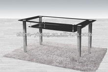 Rectangular Glass Top Home Used Dining Table