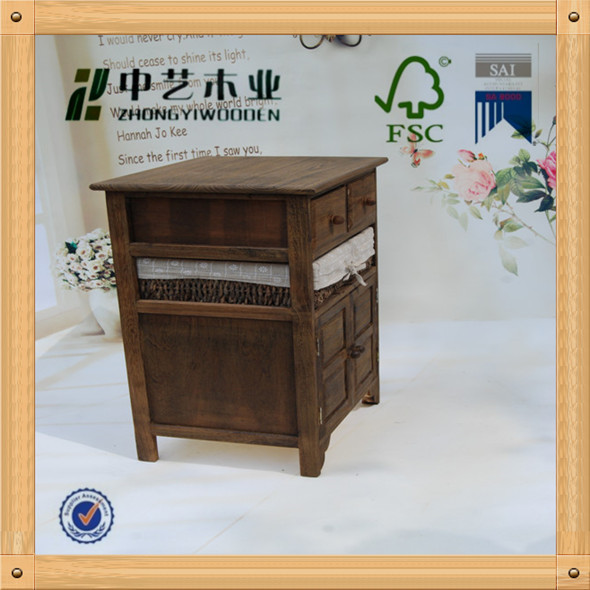 FSC art minds wood cabinet first class pine dark brown color 1 wicker basket drawers decoractive portable wood cabinet