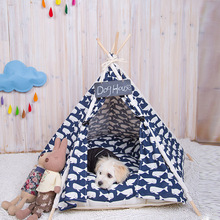 Canvas Fabric Nature Printing Wooden Soft Dog House Outdoor