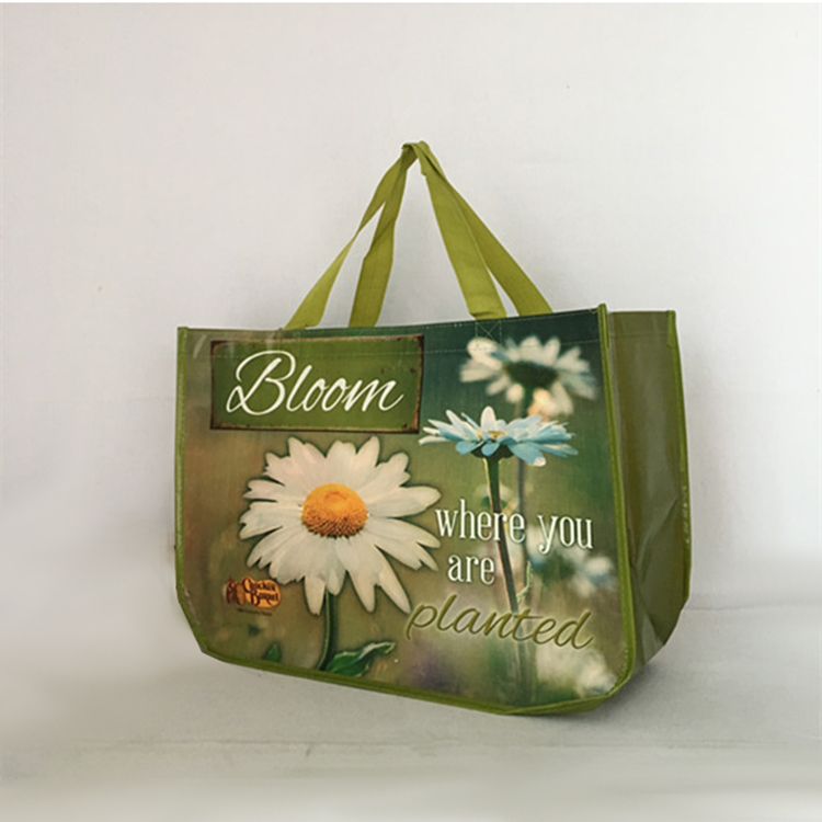 Rounded reusable laminated pp non woven shopping bag