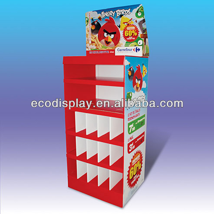 Supermarket Store retail 5 tier paper floor display for toys