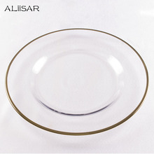 Manufacture Decorative Clear Glass Plate With Gold
