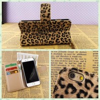 Leopard synthetic leather lady purse for iphone 6 plus wholesale for apple iphone 4 5 6 leather case phone case flip cover bag