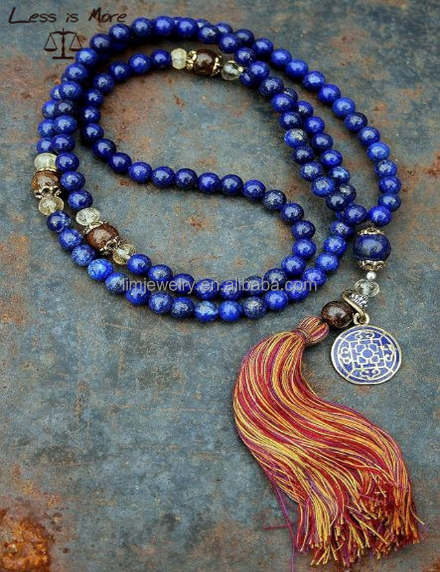 108 pcs lapis lazuli beads mala <strong>necklace</strong> ,new natural stone Buddhism <strong>necklace</strong> with tassel for praying