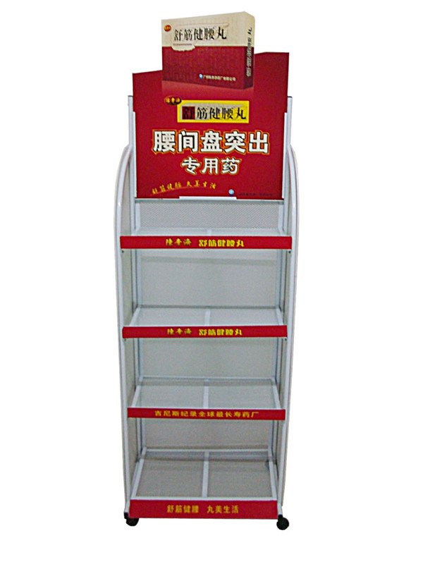 5 layers convenience store sundry display rack/shelf with wheels