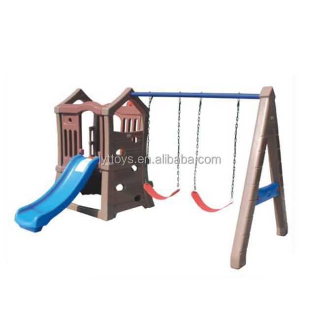 Customized kids playground plastic kids slide and swing set for sale