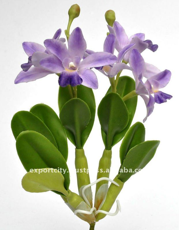 "dendrobium orchid 8"" artificial flowers thai clay handmade"