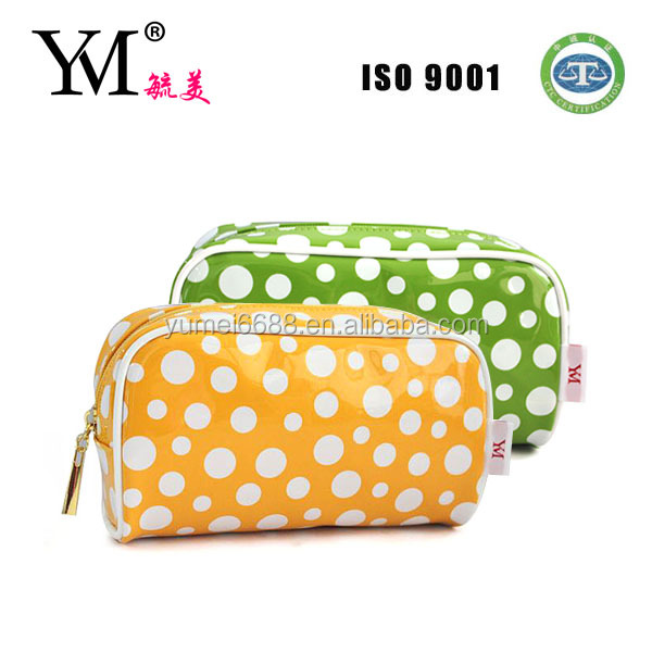 2014 new style convenient shiny pu travel cosmetic bag/makeup bag