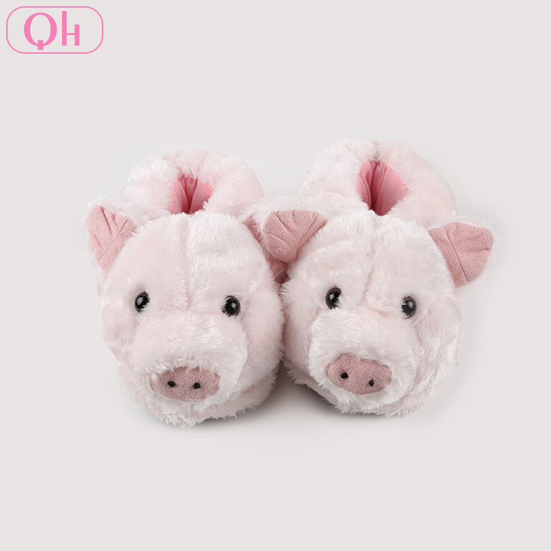 Winter cute furry lovely pink plush animal pig slippers for women
