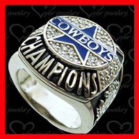 High quality sterling silver enamel Cowboys championship replica rings for fans gift