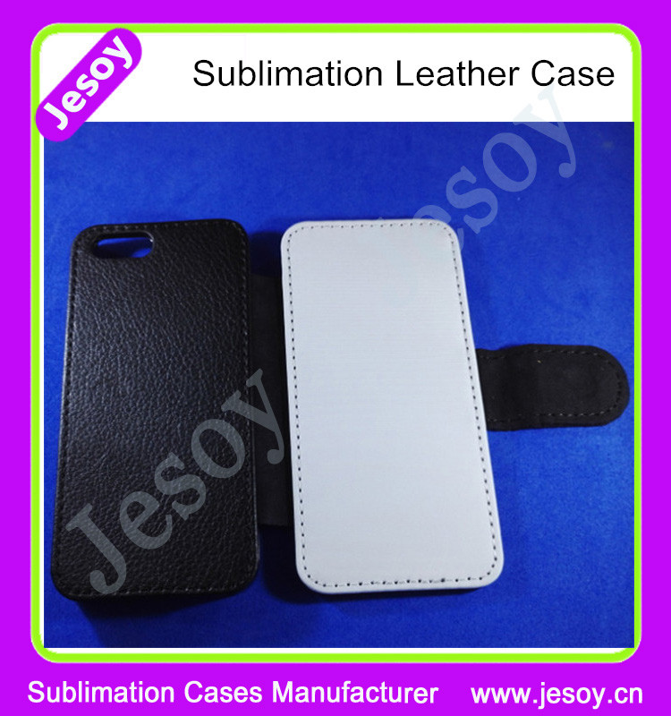 JESOY Sublimation Blank Flip PU Leather Phone Cover For iphone 4 5 5c 6 6s Leather Wallet Case