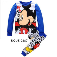 2017 New product cartoon mouse pattern blue kids thermal pajamas