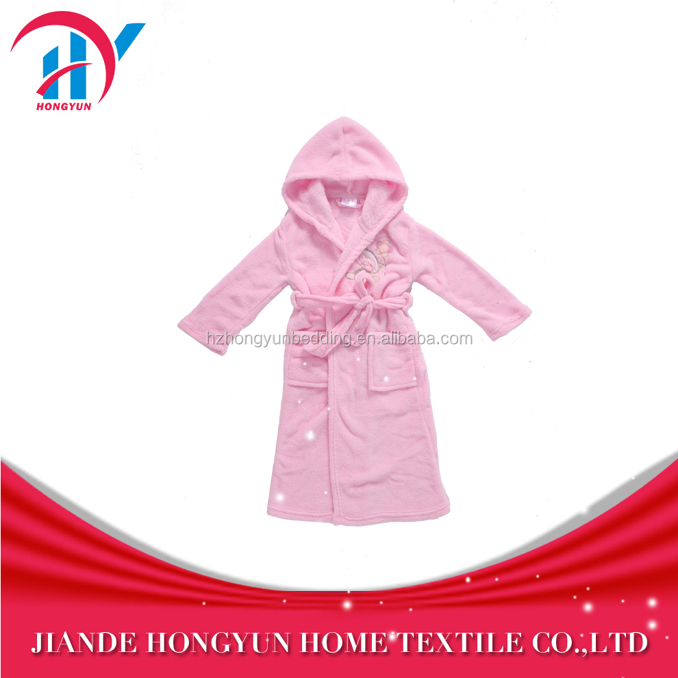 Super soft children's hooded coral velvet bathrobe with embroidery
